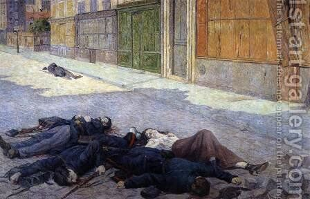 A Street in Paris in May 1871 by Maximilien Luce - Reproduction Oil Painting