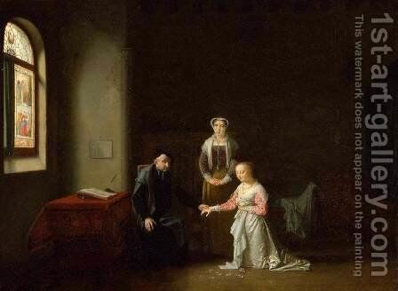 Young Woman Kneeling Before a Priest by Jean-Baptiste Mallet - Reproduction Oil Painting