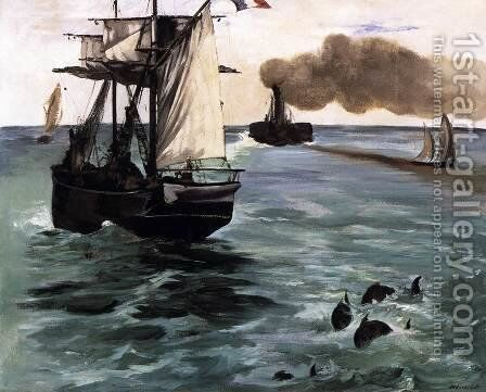 Marine View (Seascape with Porpoises) by Edouard Manet - Reproduction Oil Painting