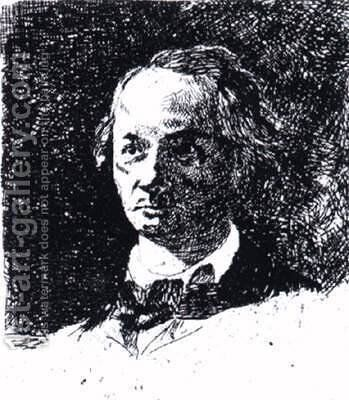 Baudelaire Bareheaded, Full Face by Edouard Manet - Reproduction Oil Painting