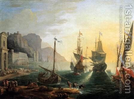 View of a Southern Port by Adrien Manglard - Reproduction Oil Painting