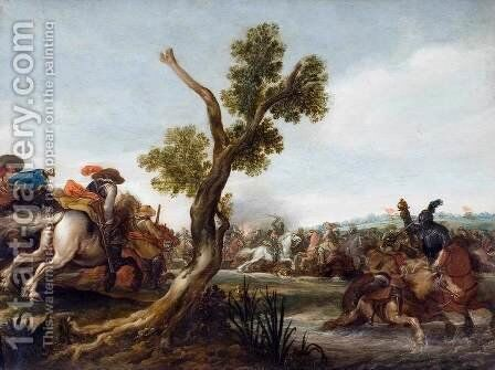 Battle Scene by Jan the Younger Martszen - Reproduction Oil Painting