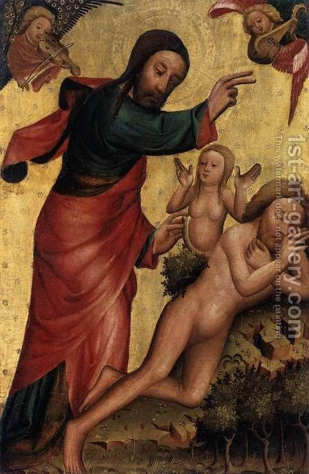 St Peter (Grabow) Altarpiece Creation of Eve by (Master of Minden) Bertram - Reproduction Oil Painting