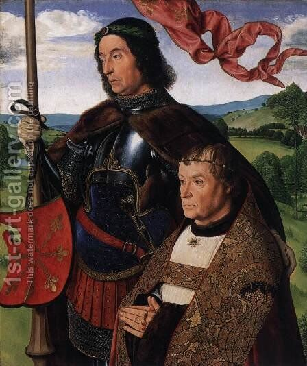 St Victor with Donor by Master of Moulins  (Jean Hey) - Reproduction Oil Painting
