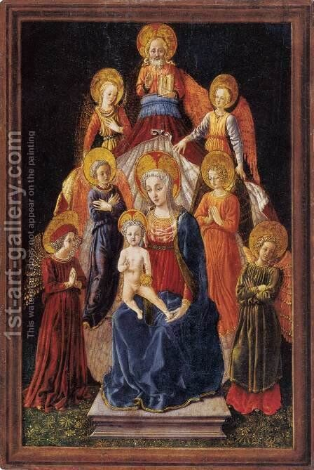 Madonna and Child with Six Angels by Master of Pratovecchio - Reproduction Oil Painting