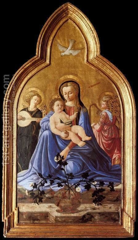 Madonna and Child with Two Angels (Madonna of Humility) by Master of the Castello Nativity - Reproduction Oil Painting