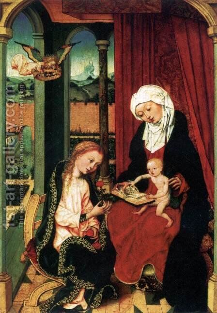 Virgin and Child with St Anne by Master of the St. Bartholomew Altarpiece - Reproduction Oil Painting