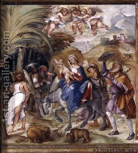 Flight to Egypt by Altobello Melone - Reproduction Oil Painting