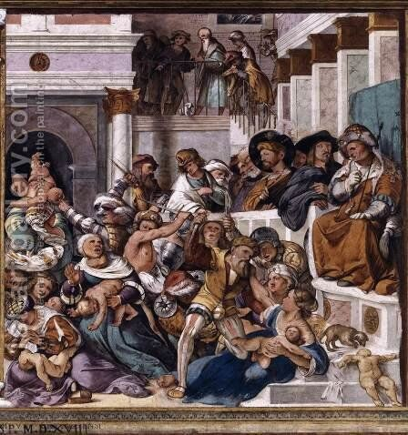 Massacre of the Innocents by Altobello Melone - Reproduction Oil Painting