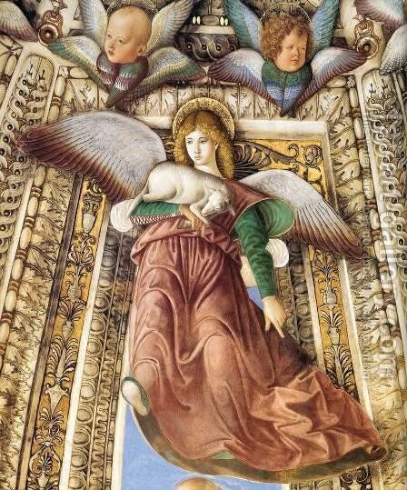 Angel with a Lamb as a Symbol of Christ's Sacrifice by Melozzo da Forli - Reproduction Oil Painting