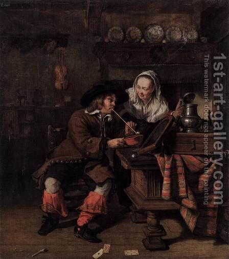 Tavern Scene by Gabriel Metsu - Reproduction Oil Painting