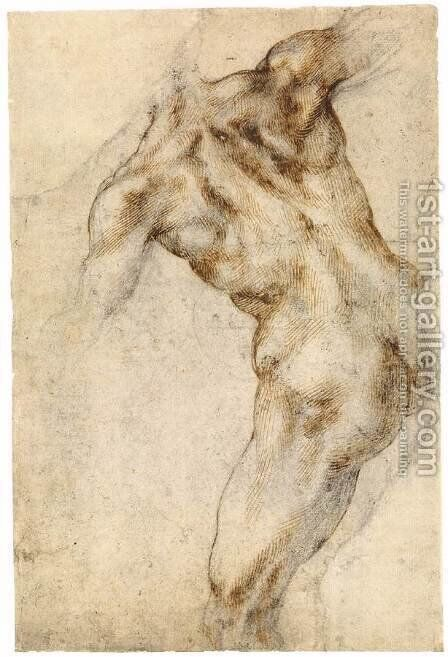 Male Nude, Seen from the Rear (recto) by Michelangelo - Reproduction Oil Painting