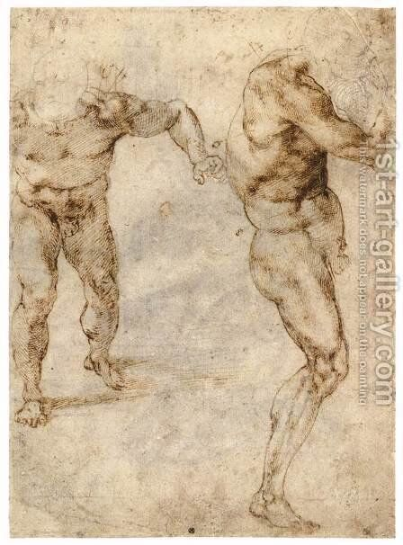Two Nude Studies (recto) by Michelangelo - Reproduction Oil Painting