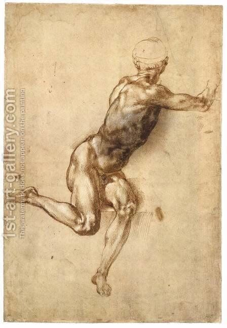 Sitting Male Nude (recto) by Michelangelo - Reproduction Oil Painting