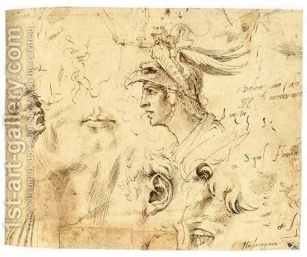 Helmeted Head of a Youth, and Other Studies (recto) by Michelangelo - Reproduction Oil Painting