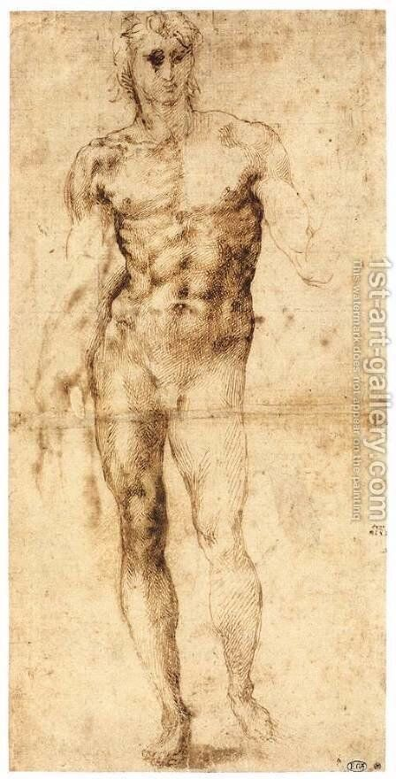 Male Nude (recto) by Michelangelo - Reproduction Oil Painting