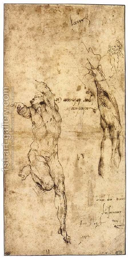 Various Studies (verso) by Michelangelo - Reproduction Oil Painting