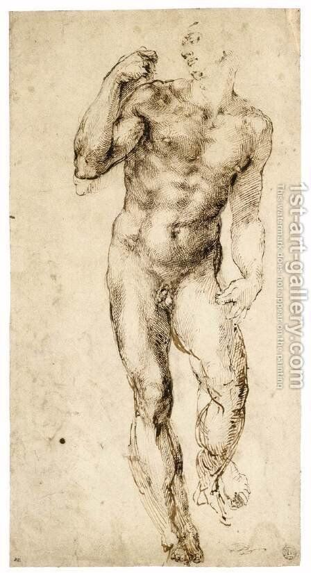 Male Nude (recto) 2 by Michelangelo - Reproduction Oil Painting