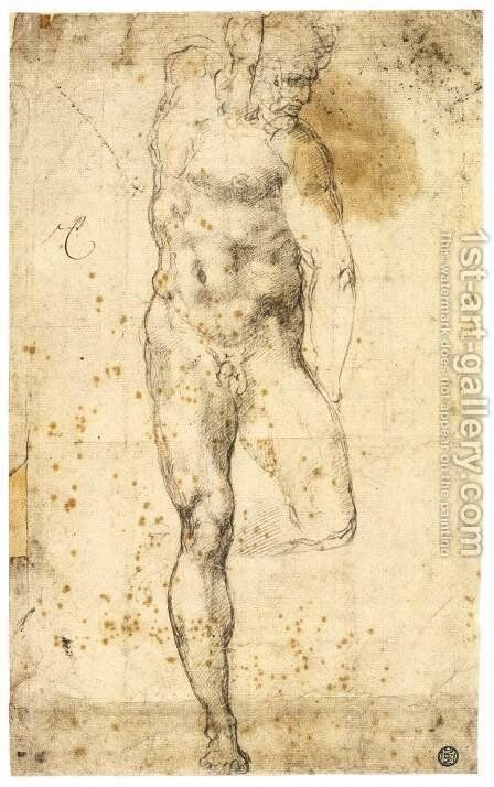 Study of a Standing Male Nude Figure (recto) by Michelangelo - Reproduction Oil Painting