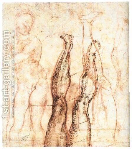 Studies for The Risen Christ (verso) by Michelangelo - Reproduction Oil Painting