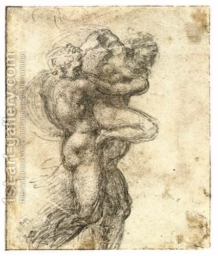 Man Abducting a Woman (recto) by Michelangelo - Reproduction Oil Painting