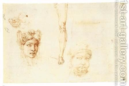 Studies of Heads, an Ear, and a Leg (verso) by Michelangelo - Reproduction Oil Painting