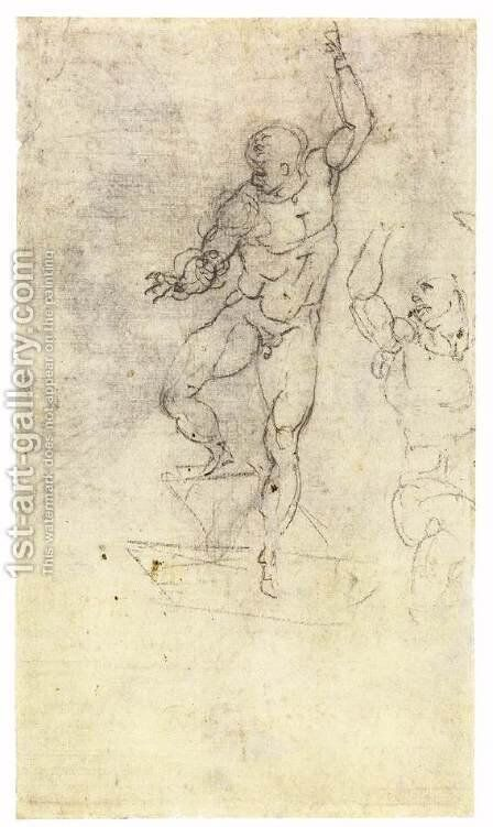 Study for a Risen Christ (verso) by Michelangelo - Reproduction Oil Painting