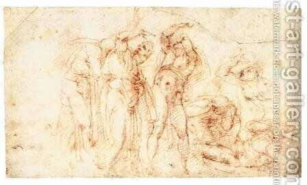 Six Figures in Startled Postures (recto) by Michelangelo - Reproduction Oil Painting