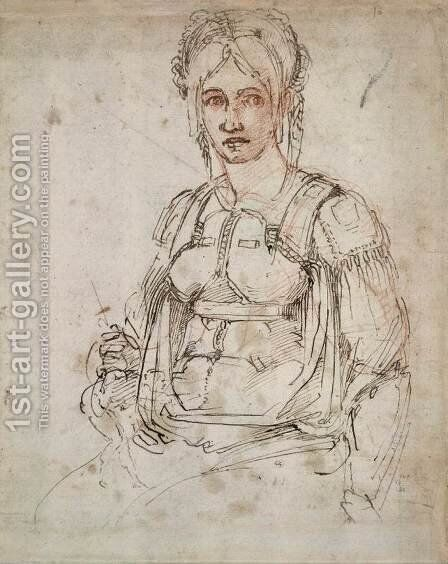 Portrait of a Woman (recto) by Michelangelo - Reproduction Oil Painting