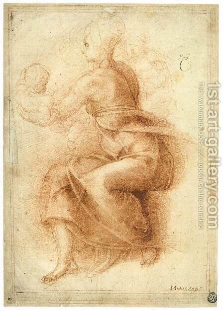 Madonna and Child with the Infant St John (recto) by Michelangelo - Reproduction Oil Painting