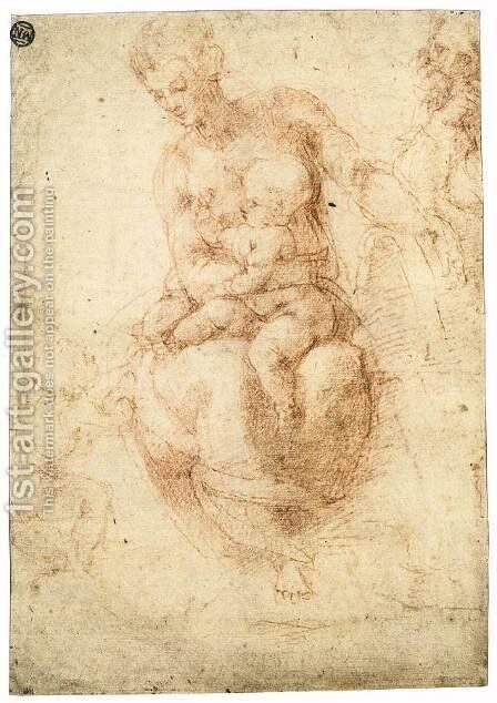 The Holy Family with the Infant St John (verso) by Michelangelo - Reproduction Oil Painting