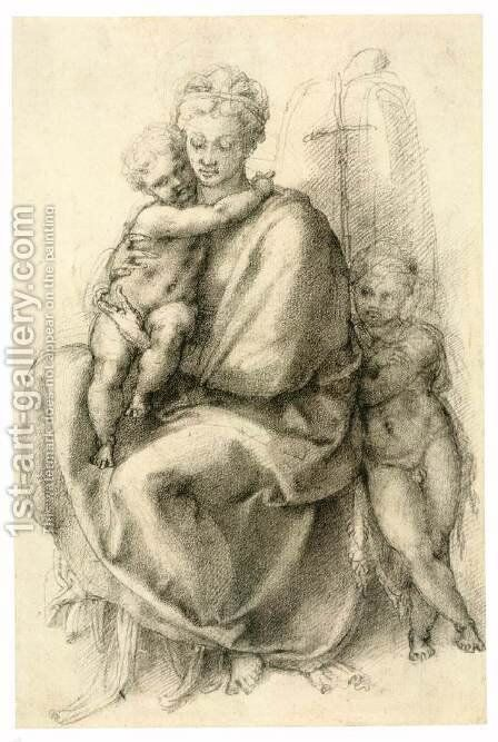 Madonna and Child with the Infant St John (recto) 2 by Michelangelo - Reproduction Oil Painting