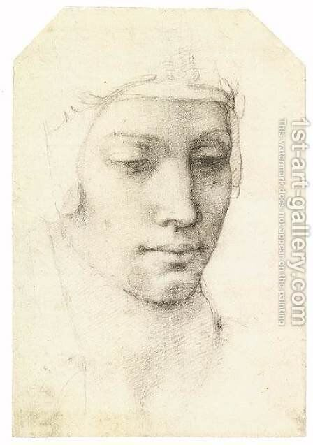 Head of a Woman (recto) by Michelangelo - Reproduction Oil Painting