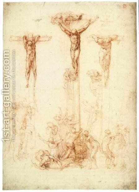 The Crucifixion of Christ and the Two Thieves by Michelangelo - Reproduction Oil Painting