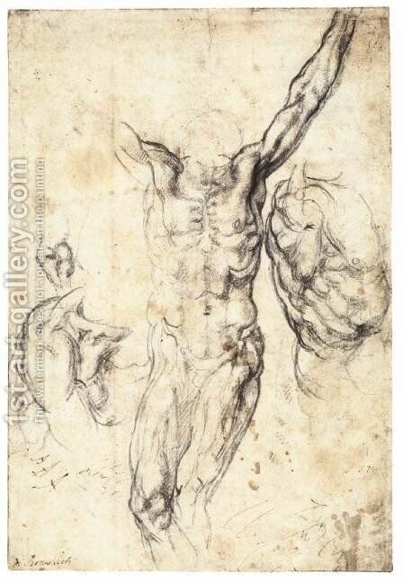 Studies of the Crucified Christ (recto) by Michelangelo - Reproduction Oil Painting