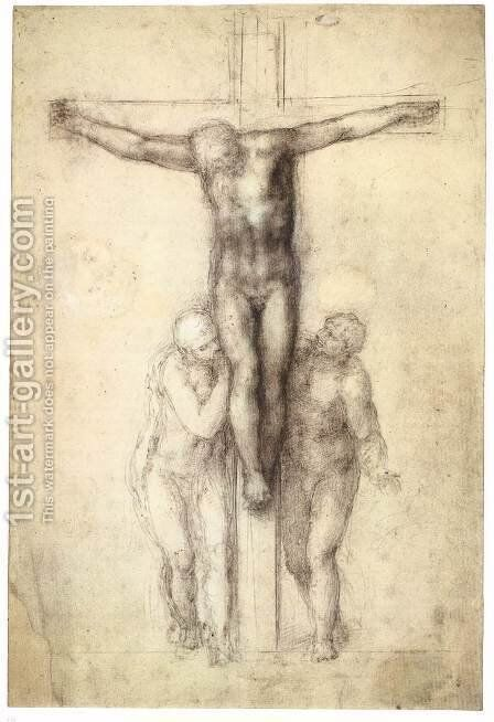Christ on the Cross with the Virgin and St John by Michelangelo - Reproduction Oil Painting