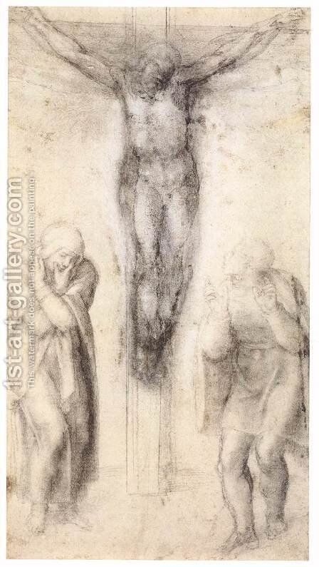 Christ on the Cross with the Virgin and St John 2 by Michelangelo - Reproduction Oil Painting