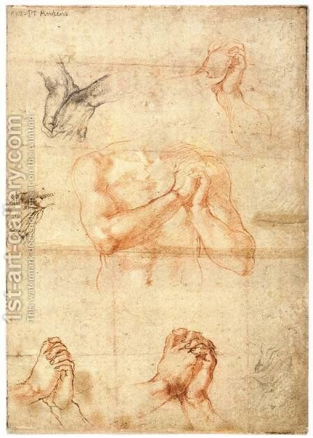 Male Upper Body with Folded Hands (verso) by Michelangelo - Reproduction Oil Painting