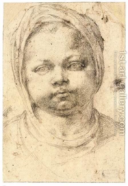 Study of a Child's Head (recto) by Michelangelo - Reproduction Oil Painting