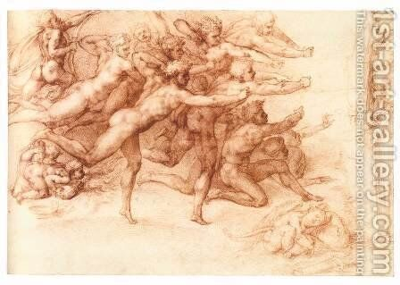 Archers Shooting at a Herm (recto) by Michelangelo - Reproduction Oil Painting