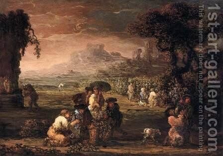 Grape Harvest by Jan de Momper - Reproduction Oil Painting