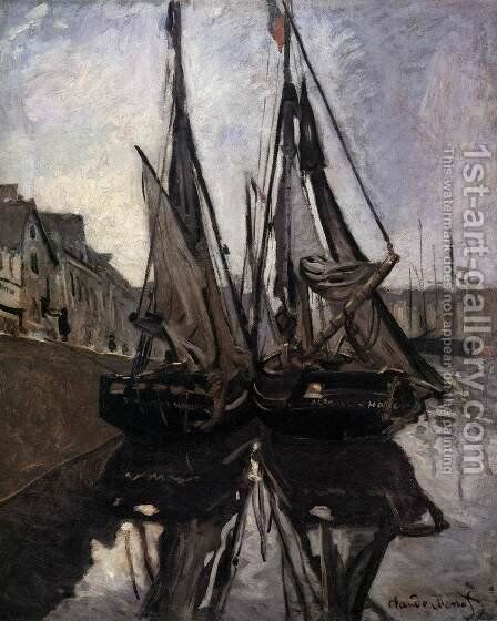 Fishing Boats in Honfleur by Claude Oscar Monet - Reproduction Oil Painting