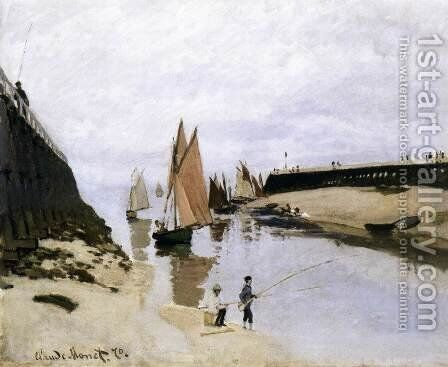 Landing Stage at Trouville, Low Tide by Claude Oscar Monet - Reproduction Oil Painting