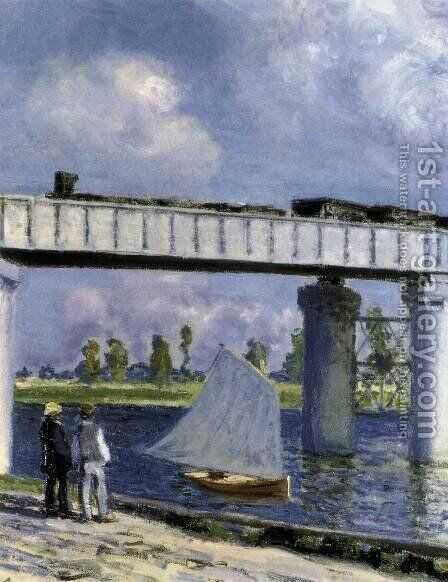 The Railway Bridge at Argenteuil (detail) by Claude Oscar Monet - Reproduction Oil Painting
