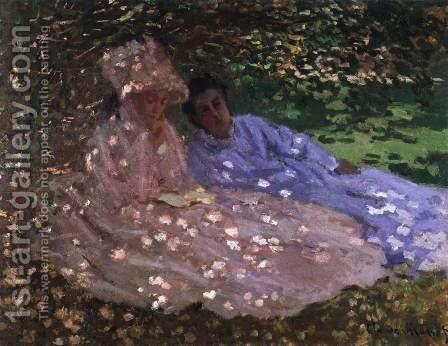 Madame Monet and a Friend in the Garden by Claude Oscar Monet - Reproduction Oil Painting