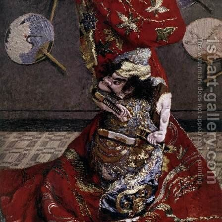 Camille Monet in Japanese Costume (detail) by Claude Oscar Monet - Reproduction Oil Painting