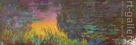Water Lilies, Sunset by Claude Oscar Monet - Reproduction Oil Painting