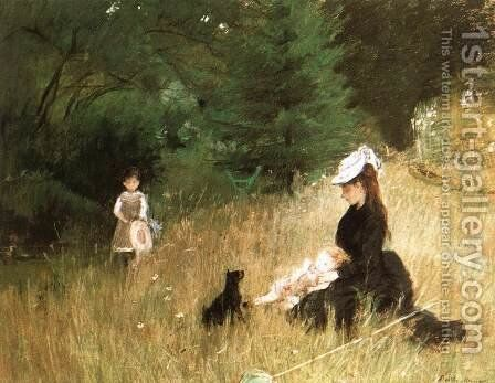 In the Grass by Berthe Morisot - Reproduction Oil Painting