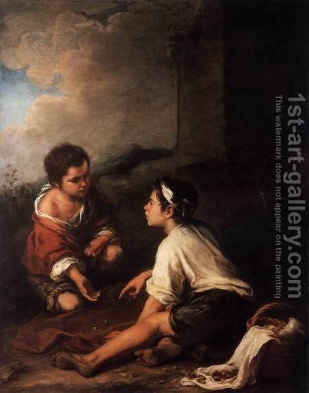 Two Boys Playing Dice by Bartolome Esteban Murillo - Reproduction Oil Painting