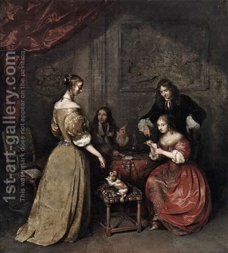 The Card Party by Caspar Netscher - Reproduction Oil Painting